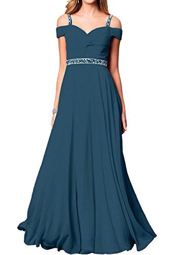 Ballkleid Damen Linie Abendkleider Lang Partykleider Ivydressing Elegant Festkleid Inkblau A Chiffon gdBn8w