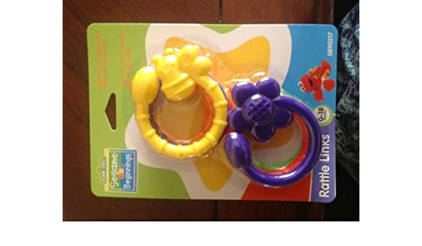 Sesame Street Beginnings RATTLE LINKS Teether Can Link To Strollers Cribs Chairs