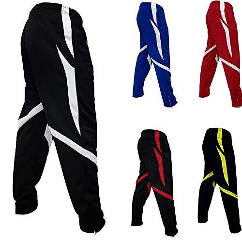 Price comparison product image Amiley Men Sweatpants, Men's Elastic Waist Zipper Bottom Pants Stripes Joggers Sports Sweatpant (Large,  White)