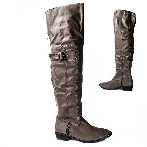 Damen Overknee Stiefel Boots Stiefeletten B5