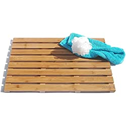 - ADD A TOUCH OF STYLE TO YOUR BATHROOM - Our Luxury 100% Natural Bamboo Bath Mat / Shower Mat / Floor Mat is Mildew Resistant and a LARGE 25 x 16 Inch, with Non Slip, Skid Proof Rubber Feet
