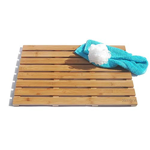 - ADD A TOUCH OF STYLE TO YOUR BATHROOM - Our Luxury 100% Natural Bamboo Bath Mat / Shower Mat / Floor Mat is Mildew Resistant and a LARGE 25 x 16 Inch, with Non Slip, Skid Proof Rubber Feet by xenjoi