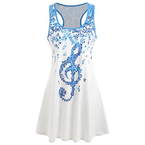 Wintialy Ladies' Bandages Sleeveless Vest Top Musical Notes Print Strappy Tank Tops (XX-Large, Music) (Print Sequin Leggings)