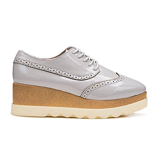 Angelliu Frauen-Massiv PU-Leder Europäische Keil-Plattform-Schuhe des Mädchens schnüren sich oben Grau