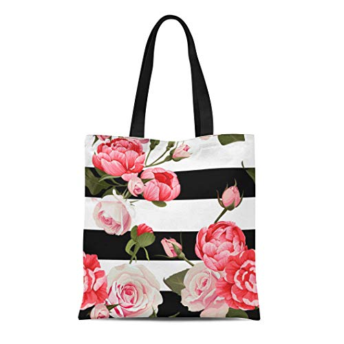 Semtomn Cotton Canvas Tote Bag Colorful Peony and Roses Black White Stripes Flowered Pink Reusable Shoulder Grocery Shopping Bags Handbag Printed