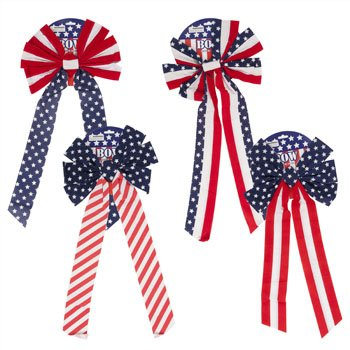 26'' x 12'' Patriotic Velvet Bows (Pack of 4) Long Printed Bows Perfect For Independence Day/4th Of July Parties by J&J's ToyScape