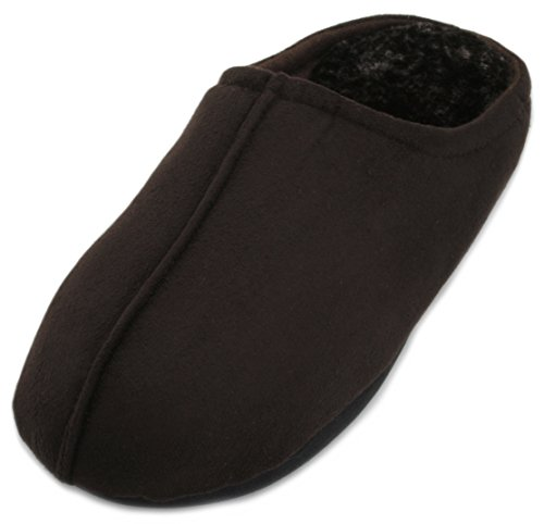 Brown Mens Mule SlumberzzZ Open Back Faux Slipper Lining Suede Plush z0nq107T