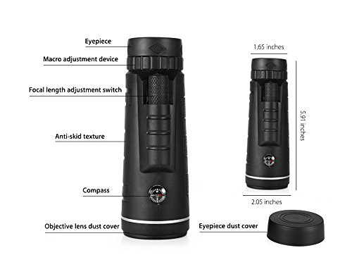 40x60 HD Mini Monocular Telescope With Tripod Cell Phone Holder,Compass and Low Light Night Vision for Outdoor Birding Travel Sightseeing Hunting by iSincere (Image #5)