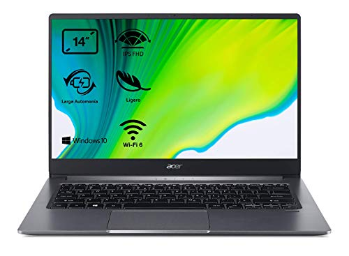 Acer Swift 3 SF314-57 – Portátil ultrafino 14″ FullHD (Intel Core i5-1035G1, 8GB RAM, 256GB SSD, Intel UHD Graphics, Windows 10 Home), Teclado QWERTY Español, Color Gris