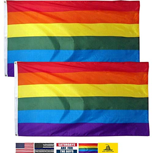 LSIKA-Z Gay Pride Banner Flags Rainbow Flag 2 Pack 3 x 5 Foo
