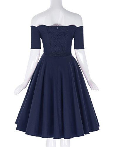 Belle donne 1950's Blue fuori Poque retro Le BP0126 Dark dalla spalla vestito arwpAaq