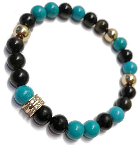 KarmaArm Stretch Beaded Bracelets Reiki Healing Energy Love Jewelry | Healing: Turquoise | Golden Obsidian | CZ Diamond Pave Yoga Meditation Jewelry (7)