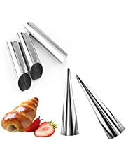 15 Pcs Stainless Steel Cannoli Tubes Set,Non-stick Cone Cream Horn Molds and Diagonal Shaped Cannoli Forms for DIY Baking Waffle Cone Pastry Roll Molds
