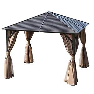 Outsunny Gazebo Pabellón Exterior Jardín 3x3m Carpa Cenador de Lujo Marco de Aluminio con Pared Lateral y Mosquitero para Fiesta Eventos