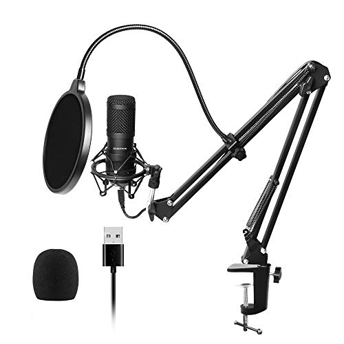 (USB Streaming Podcast PC Microphone, SUDOTACK professional 96KHZ/24Bit Studio Cardioid Condenser Mic Kit with sound card Boom Arm Shock Mount Pop Filter, for Skype YouTuber Karaoke Gaming Recording)
