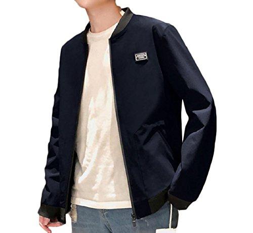 Scuro Jogger Blu Pesante Outwear Uomini Againg Moda Giacca Cerniera qUXa6w