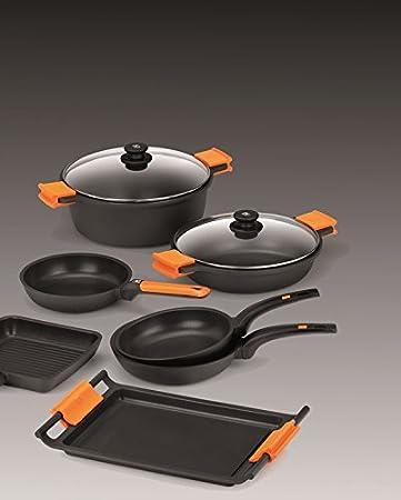 BRA Efficient - Set de 3 sartenes, 18-22-26 cm, aluminio fundido con antiadherente Platinum Plus, apta para inducción