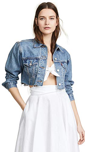 Levi's Women's Cropped Trucker Jacket, Off The Grid, Blue, Small ()