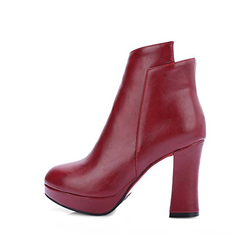 Round Allhqfashion Zipper Heels Toe Women's PU Closed Claret Solid High Boots FYfwqUxZY