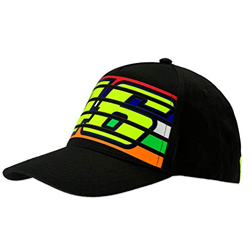 (VR46 Valentino Rossi Black Stripes Baseball Cap Adult Size Official Merchandise)