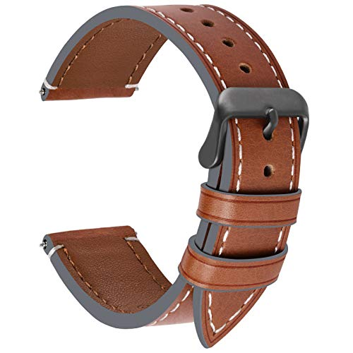 6 Colors for Watch Band 22mm, Fullmosa Genuine Leather Watch Strap Replacement for Men and Women,Dark Brown + Smoky Grey Buckle