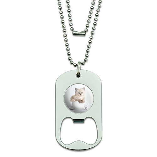 (GRAPHICS & MORE Ragdoll Tiffany Cat Kitten Tea Cup Ride Military Dog Tag Bottle Opener Pendant)
