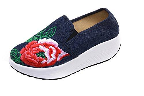 Dark Canvas SK YR34 Blue Studio Slip Women's On Loafer 0qwZO1