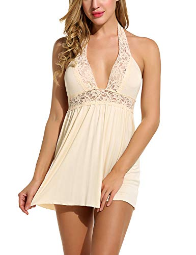 Avidlove Women Lingerie Lace Chemise Sleepwear Babydoll Set Mini Dress (L, Beige(Halter Style))