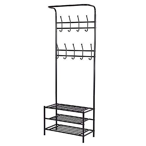 Entryway Coat Shoe Storage Rack Hanger Hooks Shelf Handbag Tier Bag (26' Wood Coat Rack)