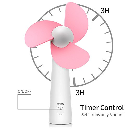 CestMall Mini Handheld Fan, USB Powered Electric Fan for Home Office Travel Camping Fishing, Soft Sponge Desk Fan for Kids (Pink) by CestMall (Image #3)