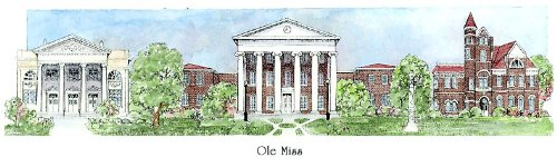 University of Mississippi ''Ole Miss'' - Collegiate Sculptured Ornament by Sculptured Watercolor Ornaments