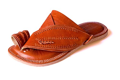 Desert Sandals – Men's Leather Shoes (Size 11, Brown). Handmade footwear made from soft, comfortable goatskin and rugged, durable camel hide. Exotic f…
