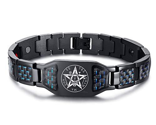 MPRAINBOW Carbon Fiber Magnets Therapy Healing Bracelet Tetragrammaton Life Health Talisman Amulet Symbol Bracelet for Men