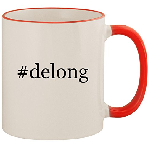 #delong - 11oz Ceramic Colored Handle & Rim Coffee Mug Cup, Red