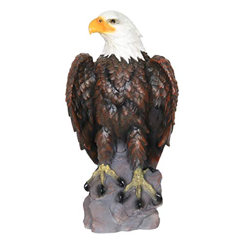 - Exhart Bald Eagle Garden Statue - Hand-Painted Eagle Decor- Bald Eagle Resin Statue, Majestic America Décor Indoor/Outdoor USA Decor for Office, Patio, Yard and Garden, 12 x 24