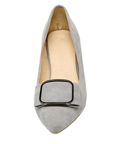 Allhqfashion Mujeres Pull-on Frosted Kitten-toe Kitten-heels Solid Bombas-zapatos Gris