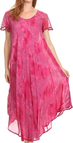 (Sakkas 16800 - Sayli Long Tie Dye Cap Sleeve Embroidered Wide Neck Caftan Dress/Cover Up - Fuchsia - OS)