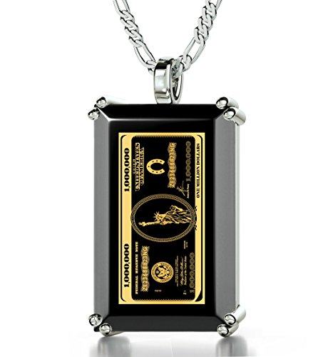 925 Sterling Silver Money Necklace Inscribed with $1,000,000 Bill in 24k Gold onto a Black Onyx Pendant, 20