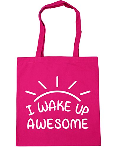 HippoWarehouse I Wake Up Awesome Tote Compras Bolsa de playa 42 cm x38 cm, 10 litros fucsia