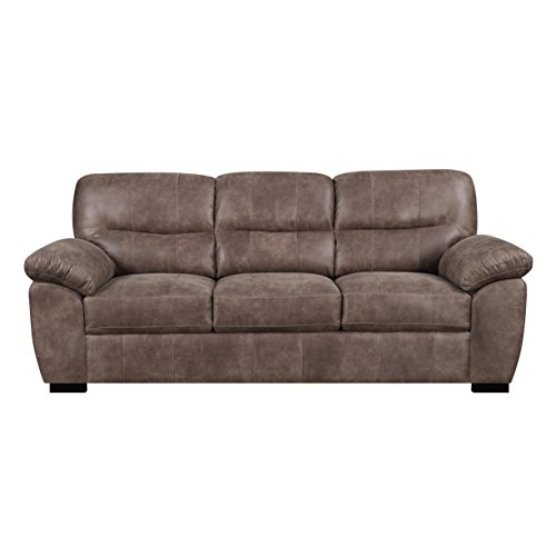 Sofa With Faux Leather, Pillow Top Back, And Padded Arms Brown Leather Pillow Top Sofa