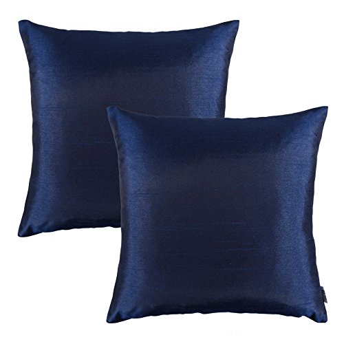 Pony Dance Luxurious Bamboo Faux Slik Home Decorative Throw Pillow Case Cover, Midnight, 45x45cm, Set of 2