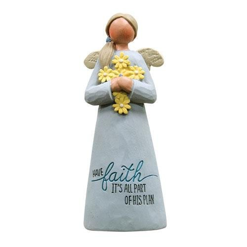 Heart of America Have Faith Angel with Yellow Flowers