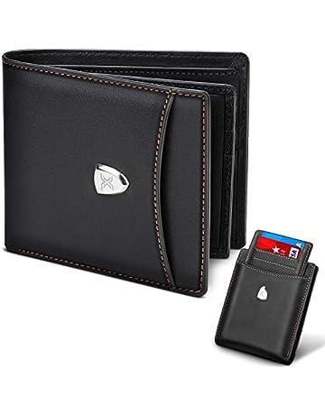 9329735e83 Portafoglio Uomo Blocco RFID Vera Pelle con 14 Slot per Schede, Slim Porta  Carte Credito