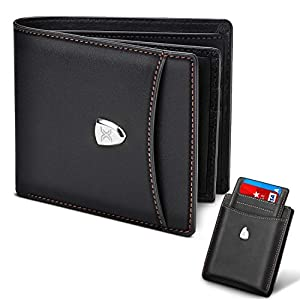 Men Wallet RFID Blocking with 14 Card Slots,Genuine Leather Slim Bi-fold Wallet, Minimalist & Stylish Wallet with Zip Coins Pocket, Large Cash Pockets, ID Window, Credit Card Slots+Gift Box-Black