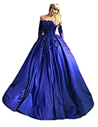 Beilite Women's Off Shoulder Prom Ball Gown Appliques Long Sleeves Party Dress