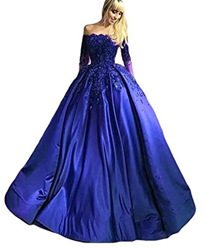 Shoulder Prom Ball Gown Appliques Long Sleeves Party Dress Royal Blue 12 (Shoulder Taffeta Ball Gown)