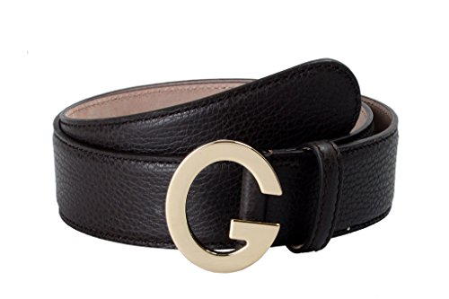 Gucci Unisex Brown Leather Buckle Decorated Leather Belt US 32 IT - Gucci Brown
