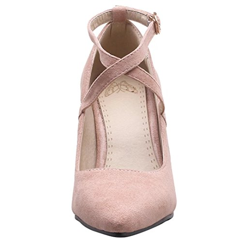 AIYOUMEI Blockabsatz High Heels Pumps Knöchelriemchen und 7cm Absatz Elegant Schuhe Damen Rosa