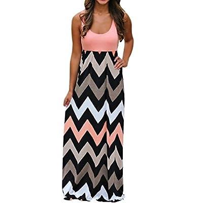 Clearance Sale! ZTY66 Plus Size Womens Sleeveless Wave Striped Long Boho Dress Lady Beach Summer Maxi Sundress