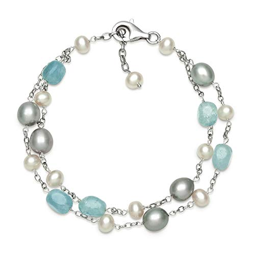 - Sterling Silver Milky Aquamarine and Pearl Chain Link Station Tin Cup Bracelet for Women, 7.5